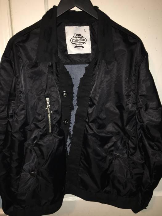 425057d5dbf American Stitch. Amiri Style Distressed Denim Nylon Bomber Jacket Black