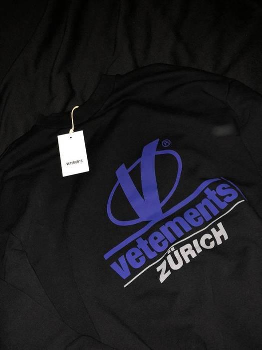 Vetements S S 18 Zurich Black Crewneck Sweatshirt Bnwt Final