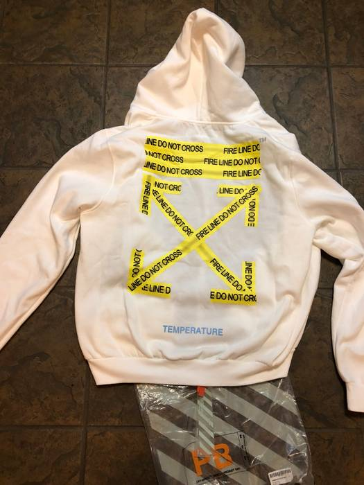 9ade94489d52 Off-White NWT Off-White Temperature Fire Tape Zip Hoodie Size s ...