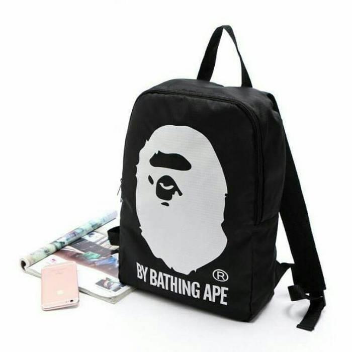 665eb6cc27a0 Bape A Bathing Ape nylon Unisex Head Backpack Bag Japan Magazine ...