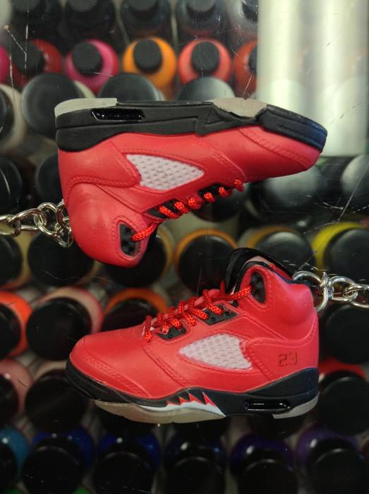 check out 7aef8 33bdd Rubber Keychain 2009 Nike Air Jordan V Raging Bull Red Suede 3D Keychain  Size ONE SIZE