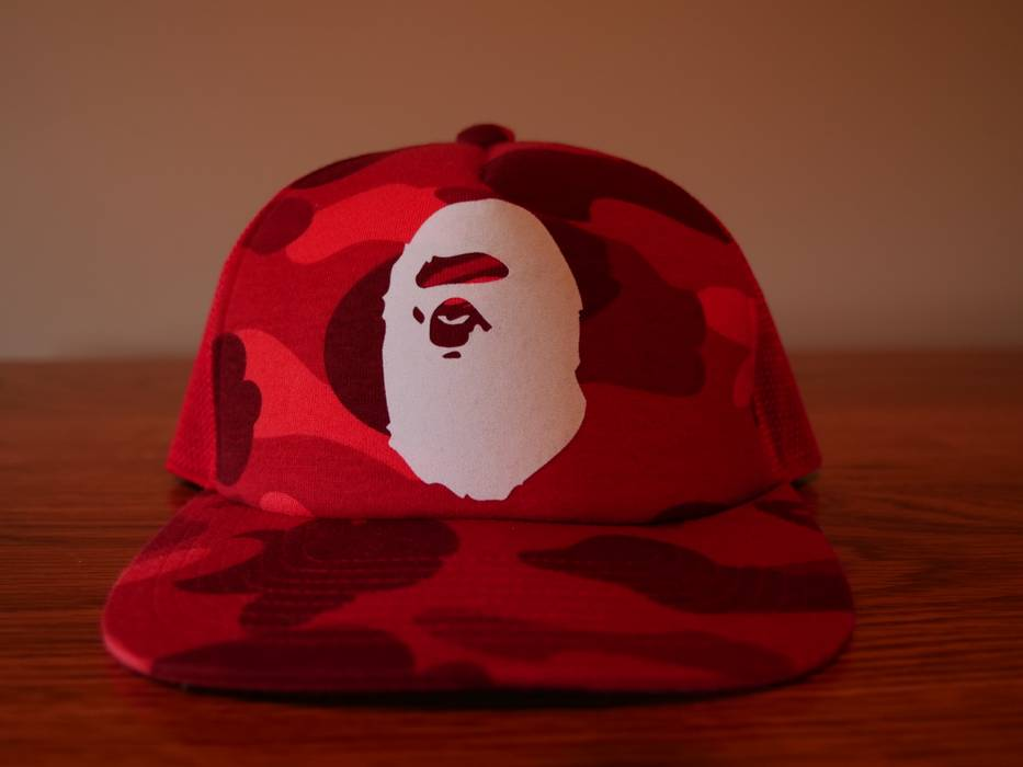Bape A Bathing Ape Red Camo snapback trucker hat Size one size ... 6c98beafb88