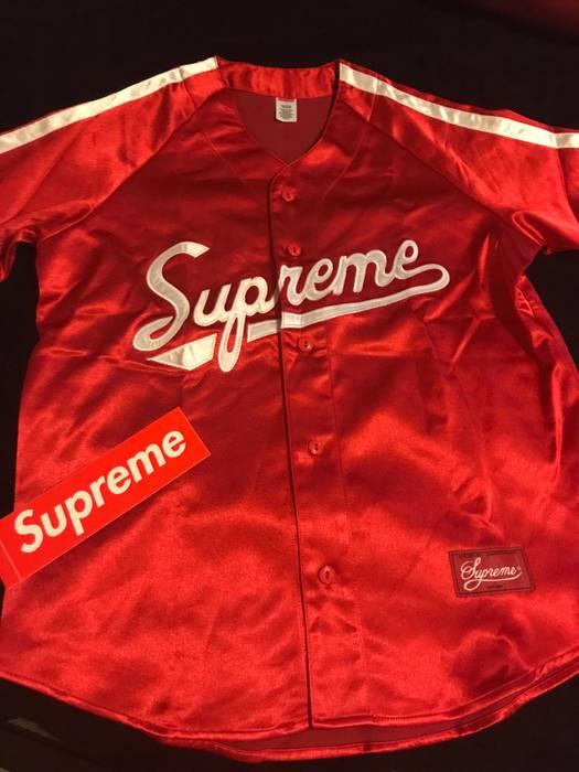 Supreme Supreme Satin Baseball Jersey Size l - Jerseys for Sale ... 9899dfc67