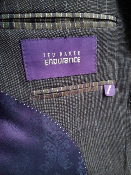 afe00c68f2977 Ted Baker Ted Baker Endurance Two Button Dark Gray Striped 2 Piece Suit  Size 42R -