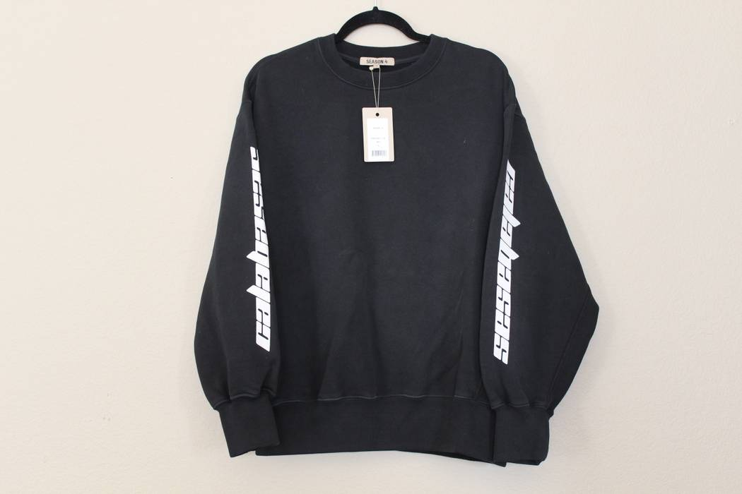 168d46028 Yeezy Season Bat Black White Calabasas Crewneck Sweatshirt Size s ...