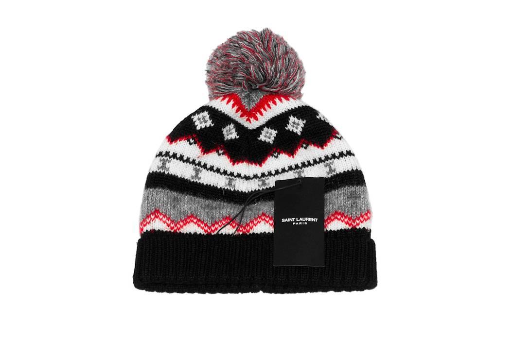 Saint Laurent Paris SS16 Pompom Jacquard Beanie Hat Size one size ... 6afa28dc459