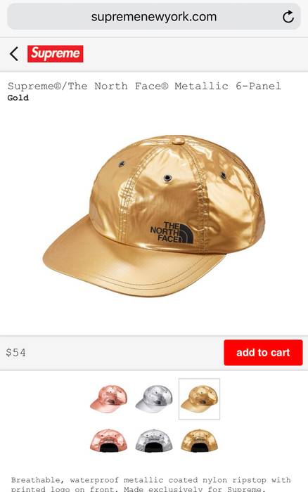 2b651e93644 Supreme Supreme X The North Face (Gold) 6-panel Hat (retail!) Size ...