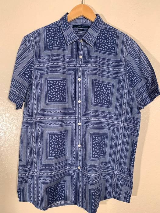 Vintage Perry Ellis Blue Paisley Button Up Spring Size US XL   EU 56   4 559fd3015