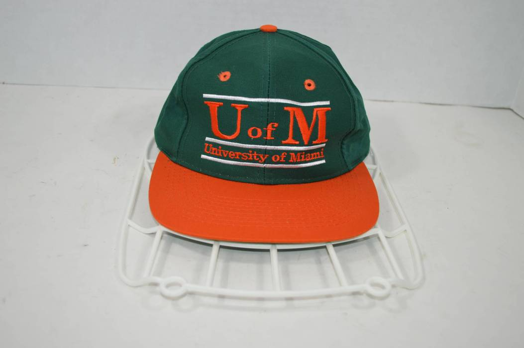 Vintage Vintage 90s THE GAME University of Miami Hurricanes Spell Out  Snapback Hat Cap Size ONE ec5ef487755