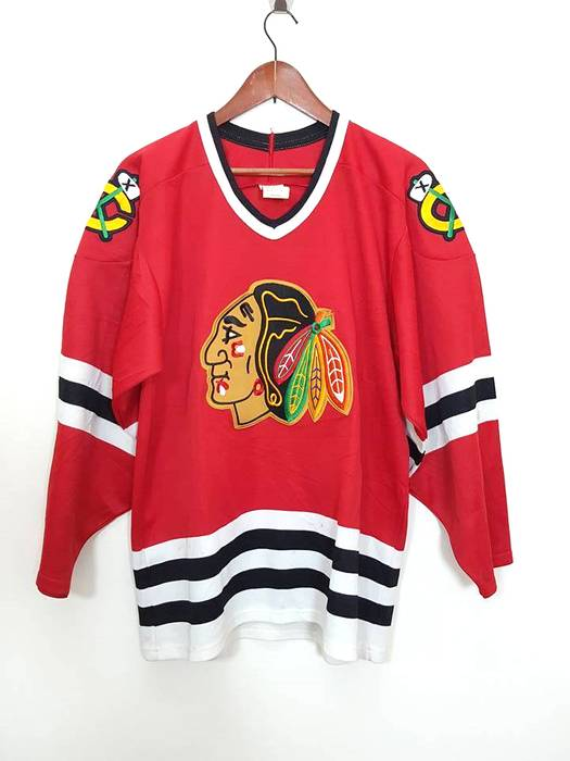a8f01745e Ccm Very Rare Vintage NHL Chicago Blackhawks Maska Big Embroided Logo Jersey  by CCM Size US