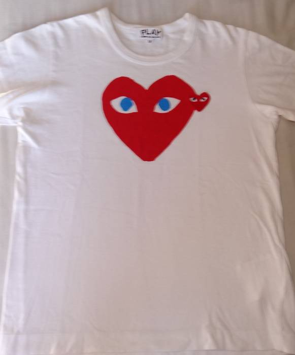 f6aacc0dedaf Comme Des Garcons Play Play Comme des garcons white red tee made in ...