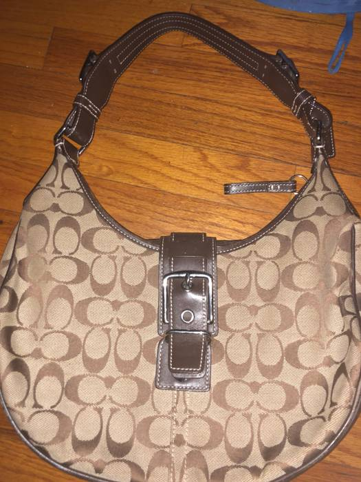 Coach Signature Brown C Pattern Canvas Hobo Purse Size One 681004c8aadce