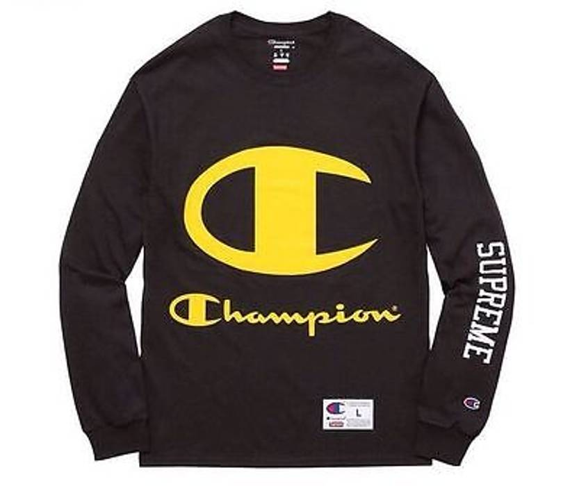 Supreme Supreme x Champion Long Sleeve Black Size l - Long Sleeve T ... 3c98bcc1c8ca