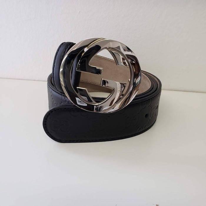 f6b0026372f Gucci Gucci Interlocking GG Monogrammed Guccissima Unisex Leather Belt -  Black Size 42