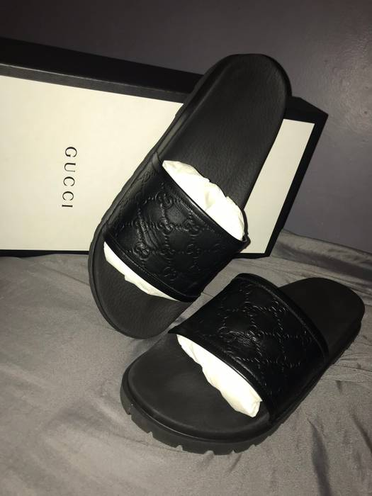 f9129b62148 Gucci Leather Double G slides flip flops sandals Size 12 - Sandals ...