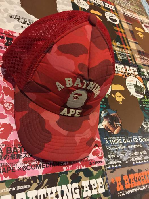 855ebc2423c Bape BAPE RED CAMO CAP Size one size - Hats for Sale - Grailed