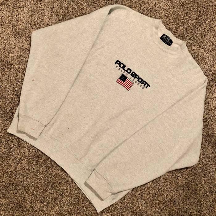 058a3776b Polo Ralph Lauren. Vintage Polo Sport Ralph Lauren Bootleg Embroidered Spell  Out Flag Logo Graphic Crewneck Sweatshirt. Size  US XL ...