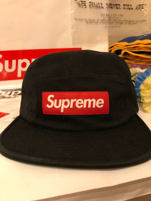 Supreme Supreme Washed Chino Twill Black Camp Cap with Red Box Logo FW17  Size ONE SIZE dd23ade7127