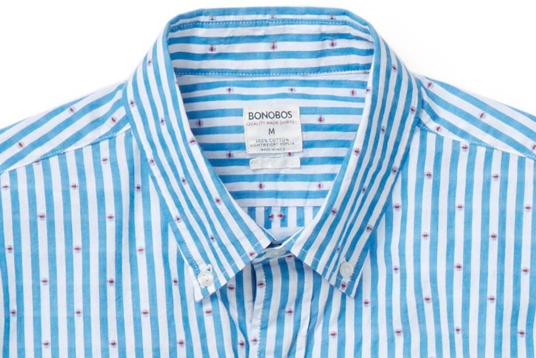 81ff265e89b1 Bonobos Blue Dobby Stripe Summer Weight Shirt Size s - Short Sleeve ...