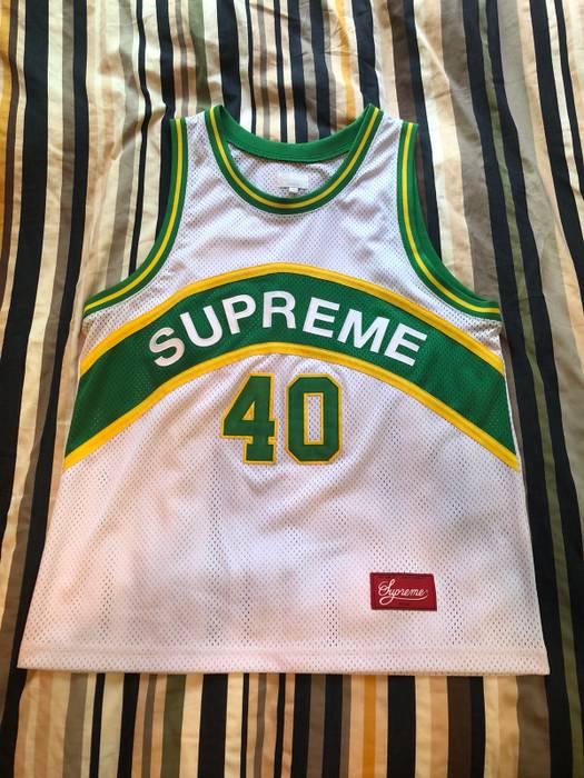 751ae421c Supreme Supreme Curve Basketball Jersey Green Yellow   White Size US L   EU  52-