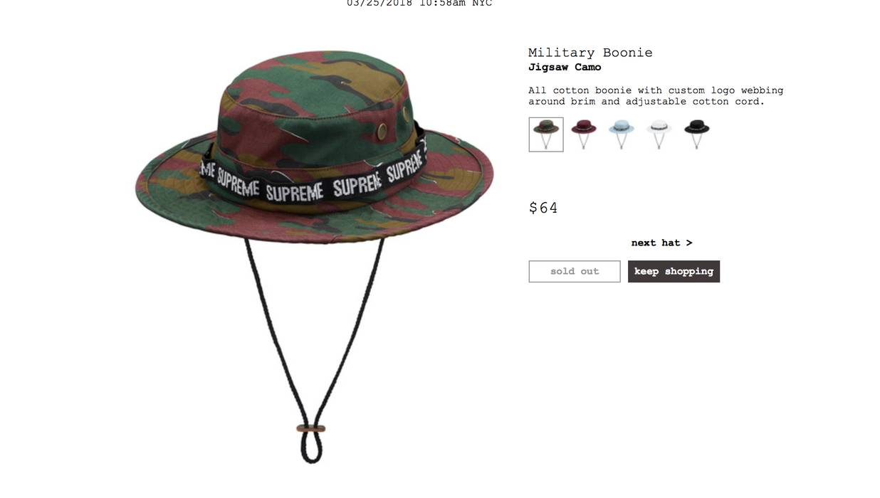 018723e3108 Supreme Military Boonie Camo Size one size - Hats for Sale - Grailed