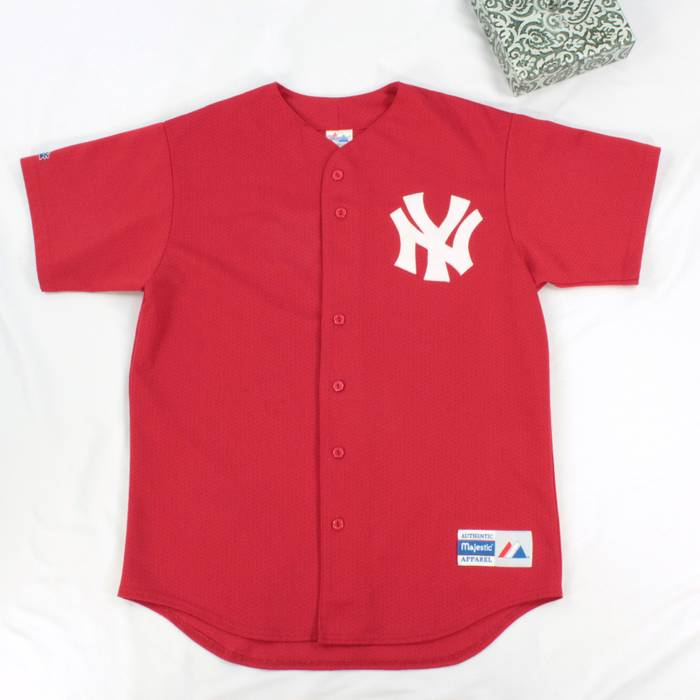 c9578cb61 ebay vintage vtg ny yankees baseball jersey size l adult perforated rare  red color vintage t