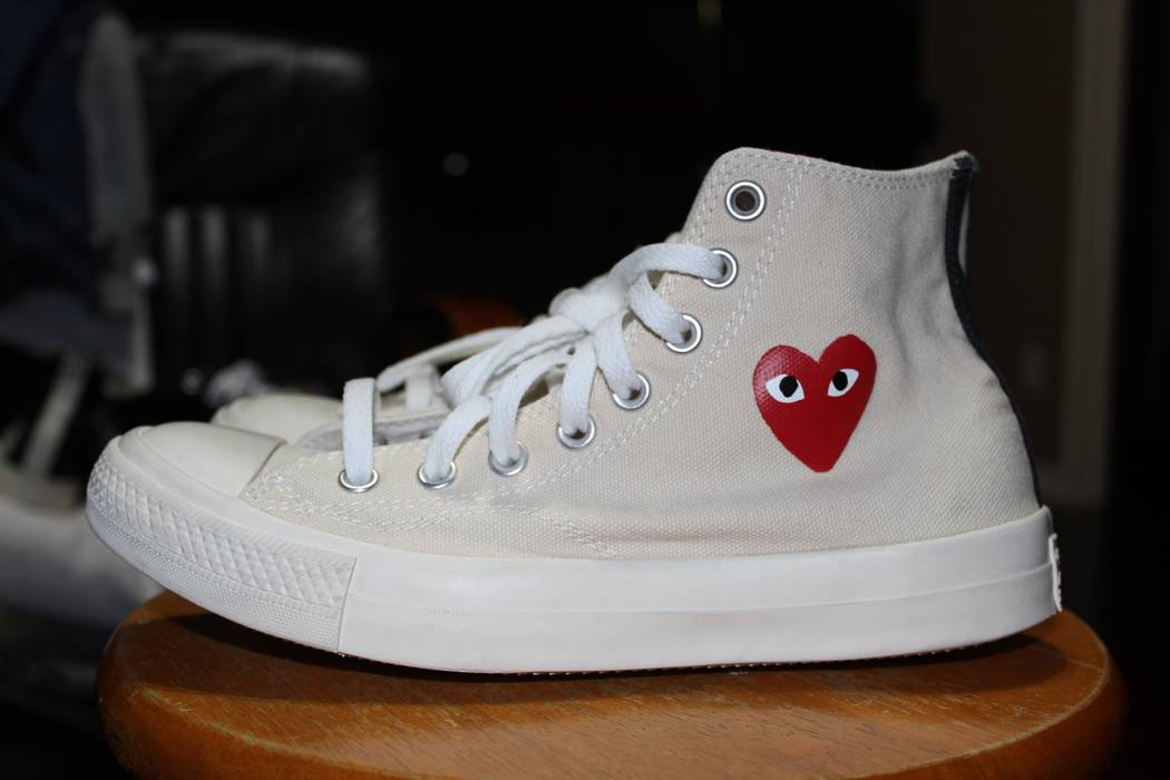 c8baf1015762 Converse CDG White Cream High Top Little Heart OG 1.0 Chuck Taylor Size US  7