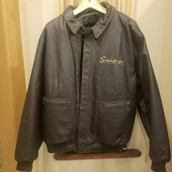 Vintage Snap On Leather Jacket Full Embroidered Logo Size Us L Eu 52