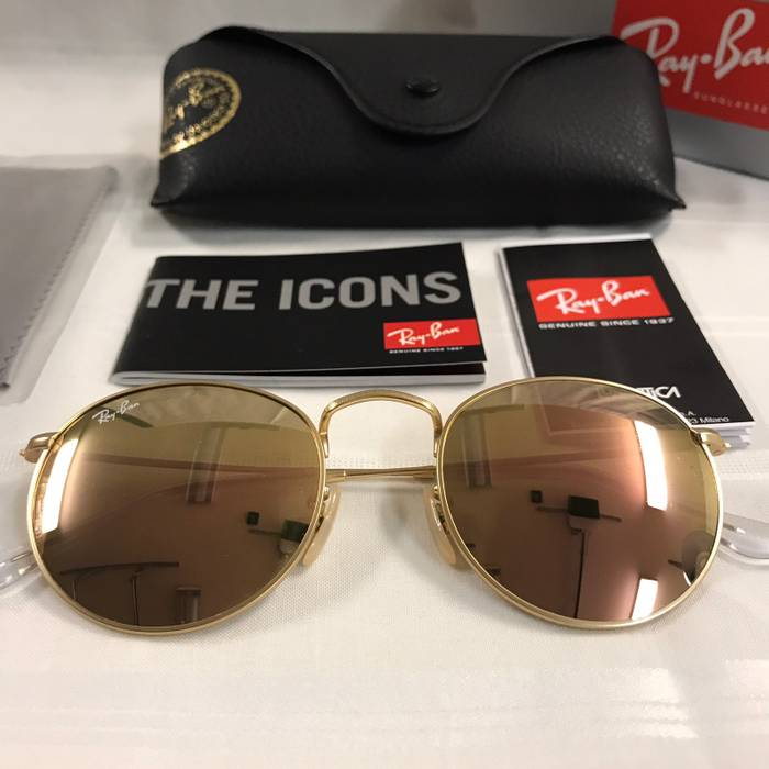 2a124f41480 RayBan Rayban Round Metal Gold Brown Mirror Pink Sunglasses NEW Size ...
