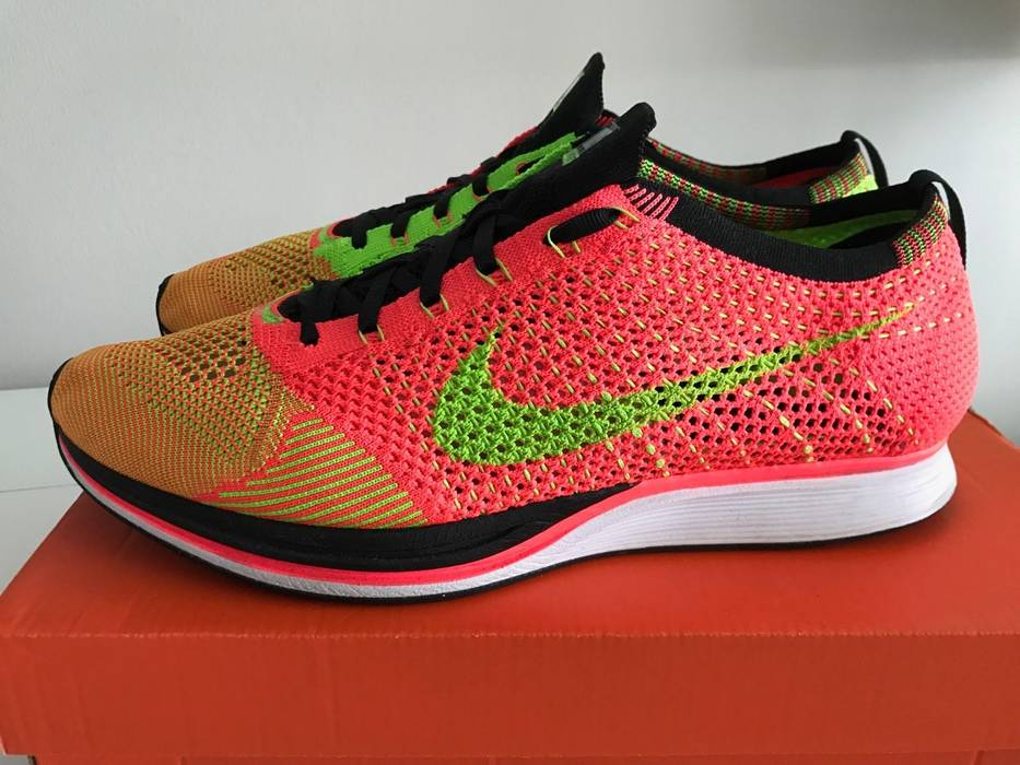6b8c80cea73d Nike  Final Drop  Nike Flyknit Racer Hyper Punch Electric Green-BLK ...