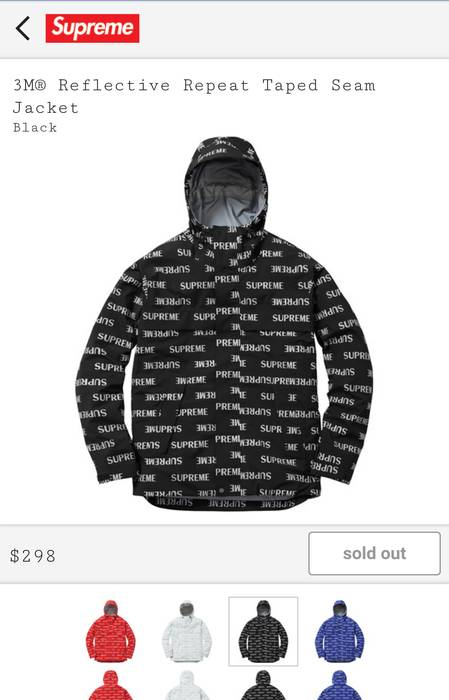 supreme 3m reflective repeat taped seam jacket size m parkas for