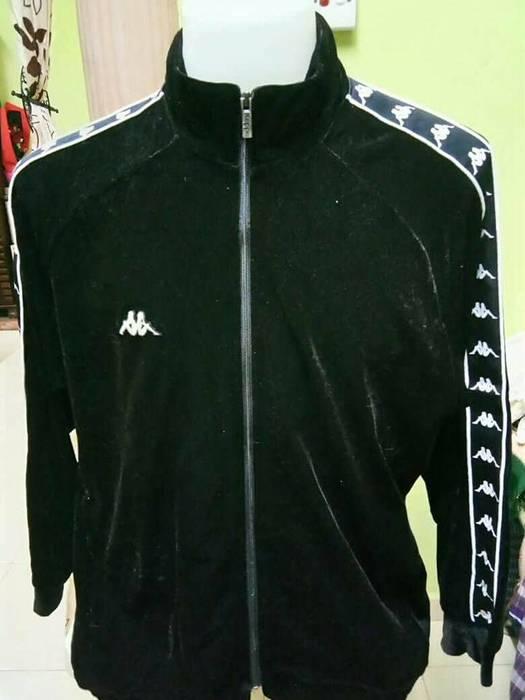9996a04b48b Kappa KAPPA Black Velvet Sweater Jacket Size L Rare Made In Japan not levis  nike adidas