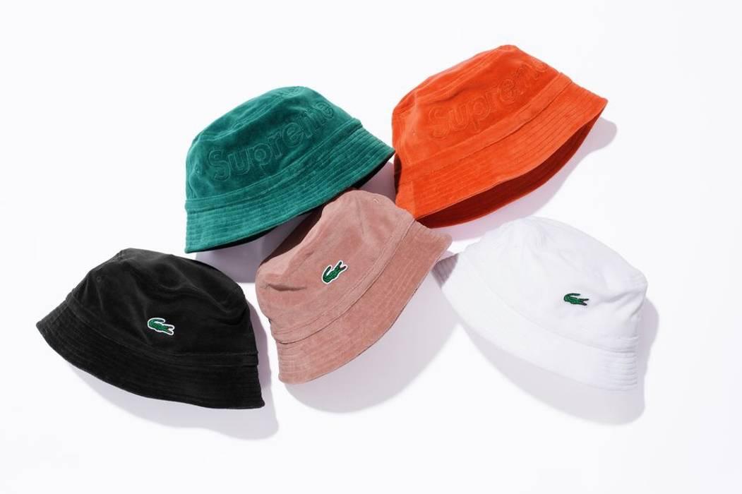 Supreme Supreme x Lacoste Velvet Bucket Hat Black Size one size ... f846b5223cd