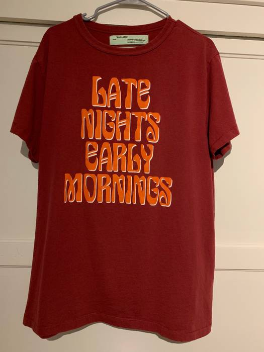 "48aaa1502b0a Off-White. OFF-WHITE ""LATE NIGHTS EARLY MORNINGS"" TEE BURGUNDY. Size  US M    EU 48-50 ..."