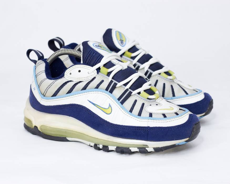 76ad5d67f75a ... release date nike rare vintage nike air max 98 og 1998 white navy  yellow 6e660 e1ae2