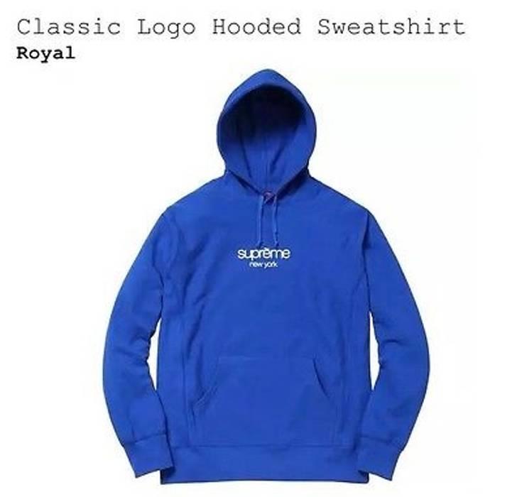 Supreme DEADSTOCK Royal Blue Classic Logo Hoodie Size m ... f93ac710da6