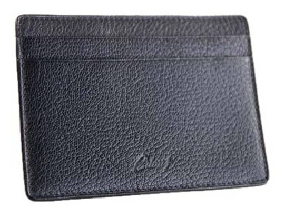 db34a9694c14 Brioni 100% Goat Leather Black Pebbled Open Billy Card Holder Wallet ...