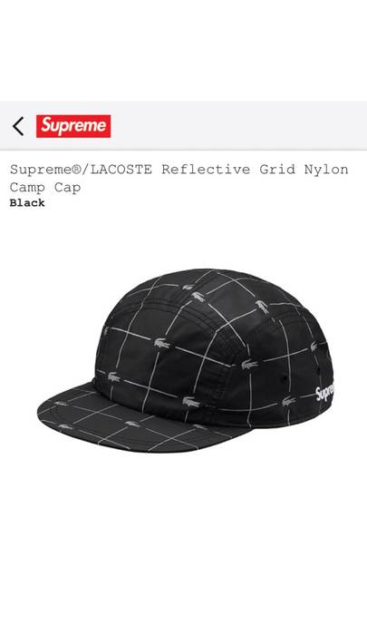 Supreme LACOSTE Reflective Grid Nylon Camp Cap Size one size - Hats ... 4d09606062f