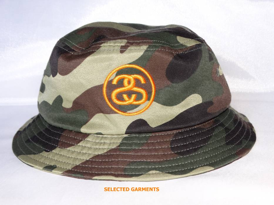Stussy stussy japan bucket hat Camo green camouflage print orange ... a09cfd1a529