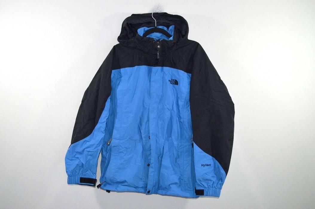 1343a11553 Vintage Vintage 90s THE NORTH FACE Large HyVent Goretex Hooded Color Block Jacket  Blue Size US
