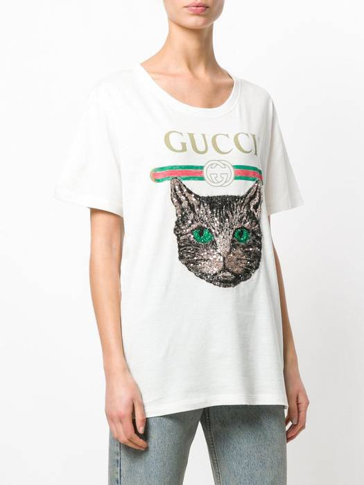 389d5b09cf1 Gucci Gucci White T-Shirt With Mystic Cat Size m - Short Sleeve T ...