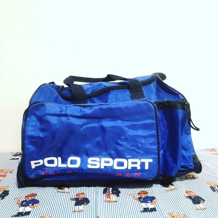 589b865438 Polo Ralph Lauren Vintage Polo Sport Blue Spellout Duffle Bag Size ...