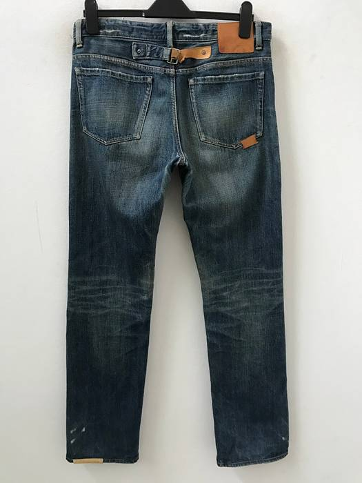 a82d5daac44 Journal Standard Leather Patchwork Dark Wash Buckle Back Denim Jeans Size  US 32   EU 48