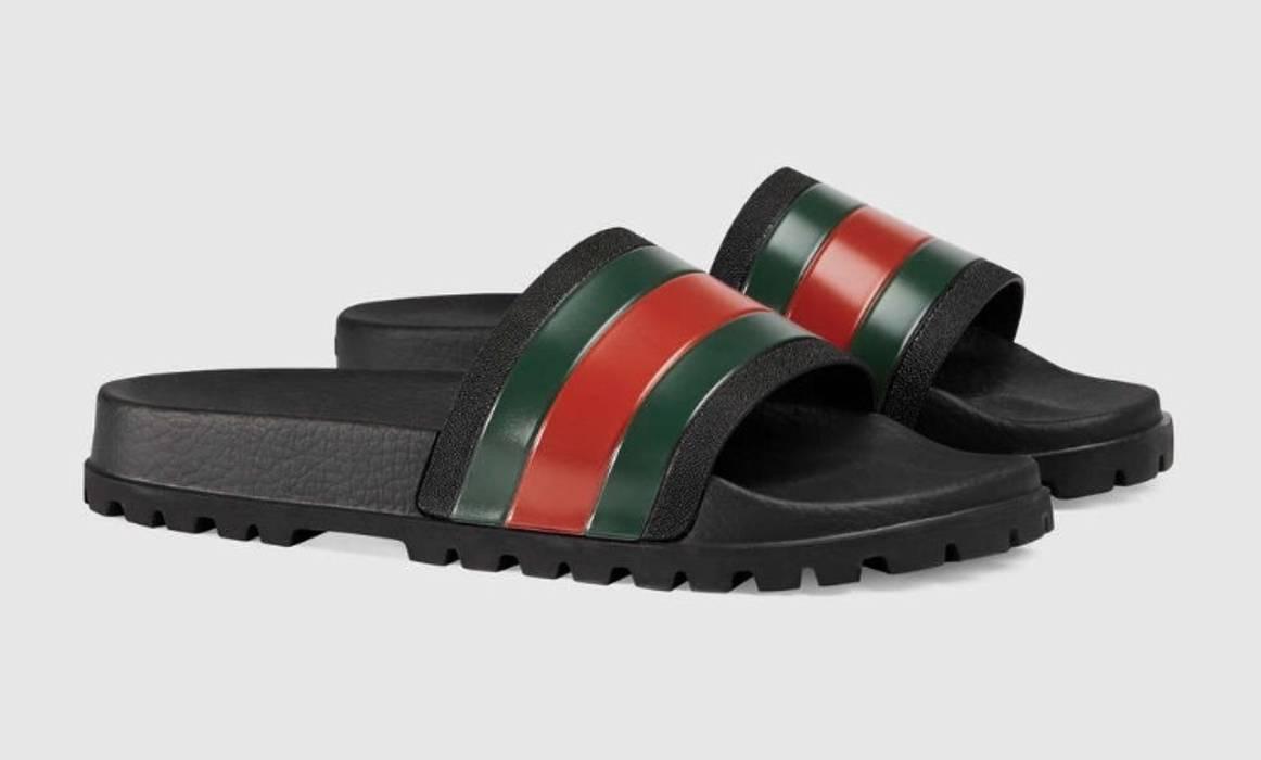 cac0ab0687cfa2 Gucci Web Slide Sandal - Black Size 11 - Sandals for Sale - Grailed