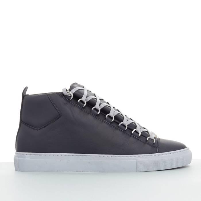 Balenciaga new BALENCIAGA Arena black leather grey outsole laced ... 756a121c8