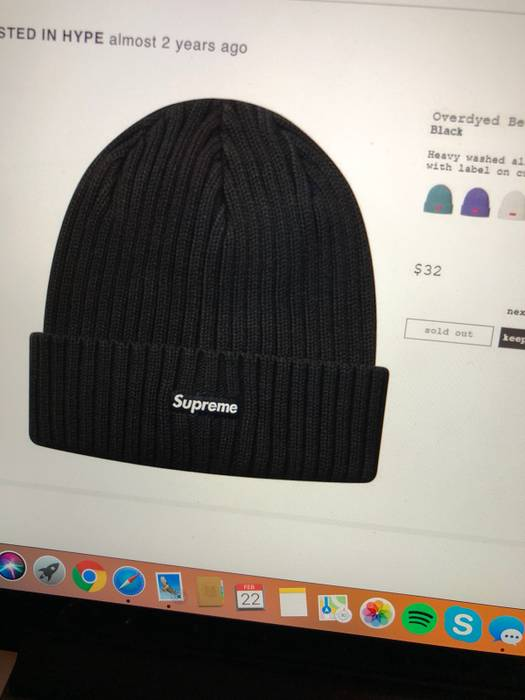 bd5c39b11c8 Supreme Supreme SS18 Overdyed Beanie Black Size one size - Hats for ...
