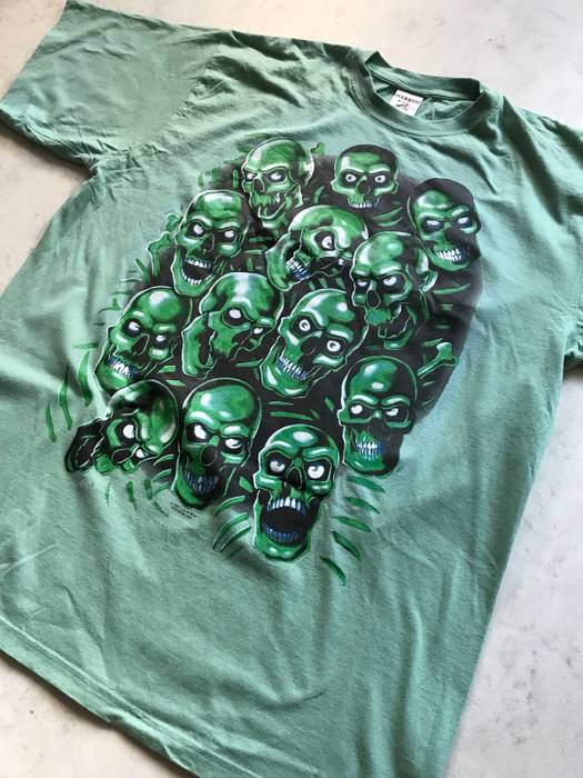 Vintage Liquid Blue Skull Pile Supreme Style Mint Green Band Tee 2007  Edition Not Juicy J 2266cc855