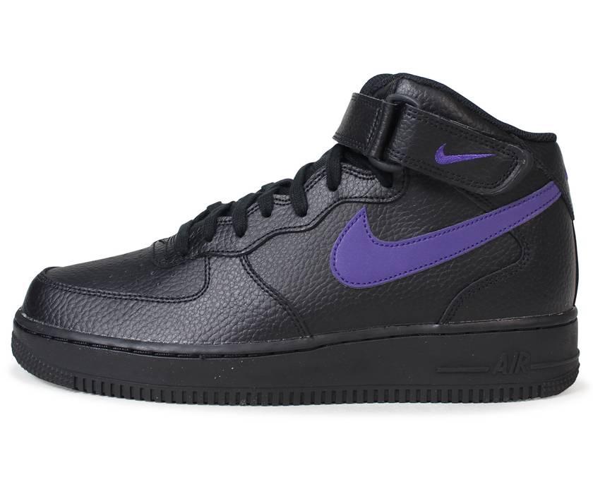 Nike 2017 Nike Air Force 1 Mid  07 Leather Pack Black   Purple AF1 ... 7e6d47068