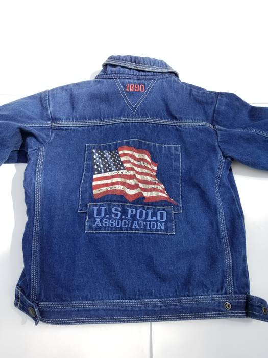 Polo Ralph Lauren Us Polo Assn Big Flag Logo Denim Jean Jacket Kids