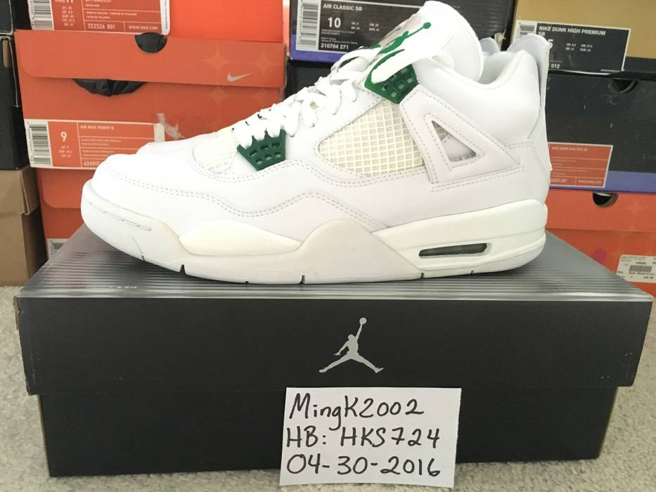 Jordan Brand 2004 Nike Air Jordan IV 4 Retro White Chrome Classic Green DS Size  US 0b8dd026e